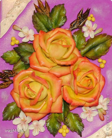 Картина панно рисунок Лепка Розы и сирень из соленого теста Тесто соленое фото 5