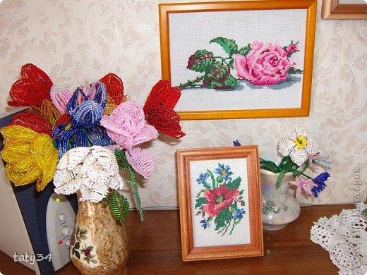 Поделка изделие Бисероплетение Цветы из бисера и вышивка Бисер фото 1.