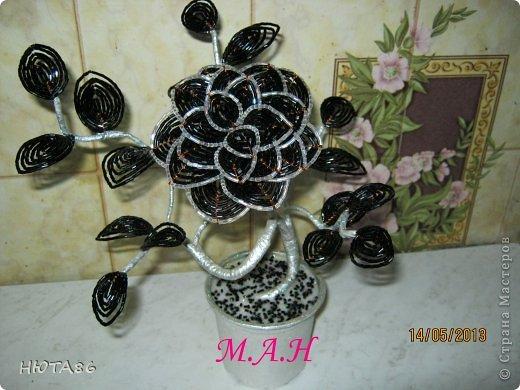 Цветы из черного бисера мастер класс с пошаговым фото