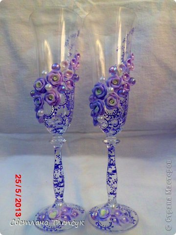 Декор предметов Лепка свадебные бокалы Бисер Бусины Клей Пластика фото 6
