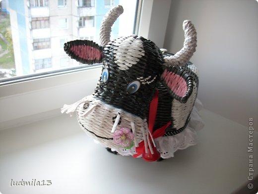 Поделка изделие Плетение коровушка плетеная Трубочки бумажные фото 4