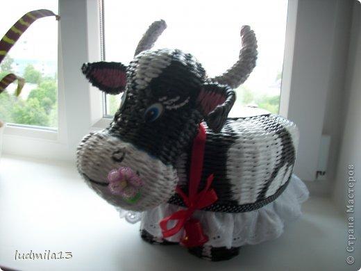 Поделка изделие Плетение коровушка плетеная Трубочки бумажные фото 1