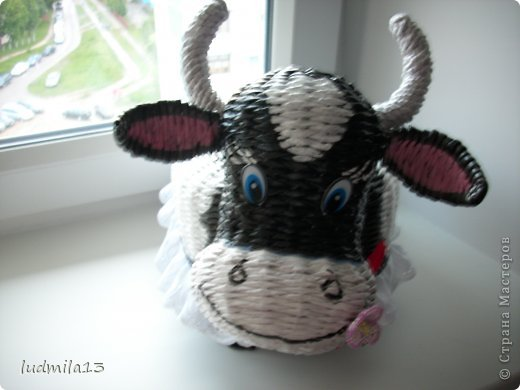 Поделка изделие Плетение коровушка плетеная Трубочки бумажные фото 11