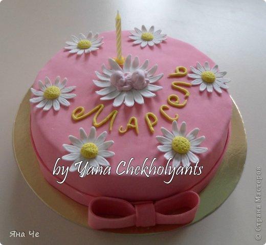 Тортик для дочери друзей. Малышку зовут Маша, но так ее никто не называет, она и Маня, и Маруся, и Марсель)))) Вот я им и подписала)