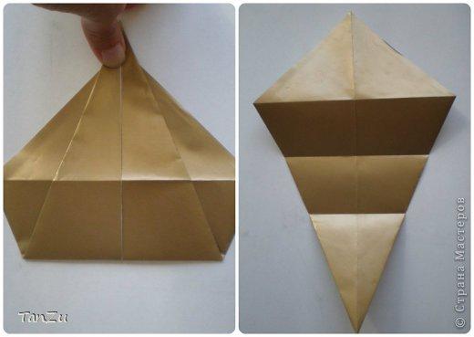 Всем огромный привет! Хочу поделиться со всеми процессом изготовления вот такой закрученной ракушки в технике оригами. Свою работу я назвала мастер-классом. Конечно же, ракушку и способ складывания этой поделки придумала не я, делала по видео-уроку с сайта Планета оригами http://planetaorigami.ru/2012/07/zakruchennaya-rakovina-po-sxeme-tomoko-fuse/  А я хочу показать вам этапы своей работы с пояснениями, которые, я надеюсь, значительно облегчат труд желающим сложить такую ракушку. Сама я раз пятнадцать пересматривала видео, пока точно не посчитала необходимое количество сложений. Если модераторы не посчитают мою запись мастер-классом, то я не обижусь. Сначала советую посмотреть видео, а потом следовать моему Мк. Фотографий будет много, но не пугайтесь, на самом деле все не так сложно, вторую ракушку, которую я вам здесь представляю, я делала уже практически по памяти. Как говорится, глаза боятся, а руки делают! фото 4