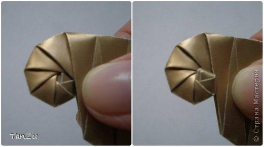 Всем огромный привет! Хочу поделиться со всеми процессом изготовления вот такой закрученной ракушки в технике оригами. Свою работу я назвала мастер-классом. Конечно же, ракушку и способ складывания этой поделки придумала не я, делала по видео-уроку с сайта Планета оригами http://planetaorigami.ru/2012/07/zakruchennaya-rakovina-po-sxeme-tomoko-fuse/  А я хочу показать вам этапы своей работы с пояснениями, которые, я надеюсь, значительно облегчат труд желающим сложить такую ракушку. Сама я раз пятнадцать пересматривала видео, пока точно не посчитала необходимое количество сложений. Если модераторы не посчитают мою запись мастер-классом, то я не обижусь. Сначала советую посмотреть видео, а потом следовать моему Мк. Фотографий будет много, но не пугайтесь, на самом деле все не так сложно, вторую ракушку, которую я вам здесь представляю, я делала уже практически по памяти. Как говорится, глаза боятся, а руки делают! фото 18