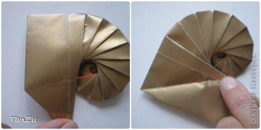 Всем огромный привет! Хочу поделиться со всеми процессом изготовления вот такой закрученной ракушки в технике оригами. Свою работу я назвала мастер-классом. Конечно же, ракушку и способ складывания этой поделки придумала не я, делала по видео-уроку с сайта Планета оригами http://planetaorigami.ru/2012/07/zakruchennaya-rakovina-po-sxeme-tomoko-fuse/  А я хочу показать вам этапы своей работы с пояснениями, которые, я надеюсь, значительно облегчат труд желающим сложить такую ракушку. Сама я раз пятнадцать пересматривала видео, пока точно не посчитала необходимое количество сложений. Если модераторы не посчитают мою запись мастер-классом, то я не обижусь. Сначала советую посмотреть видео, а потом следовать моему Мк. Фотографий будет много, но не пугайтесь, на самом деле все не так сложно, вторую ракушку, которую я вам здесь представляю, я делала уже практически по памяти. Как говорится, глаза боятся, а руки делают! фото 20