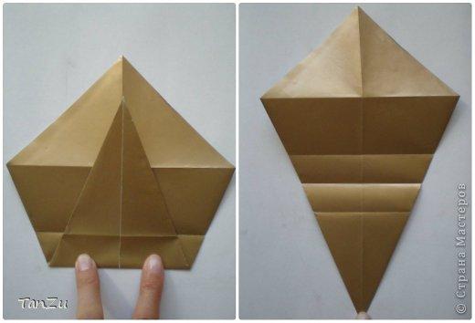 Всем огромный привет! Хочу поделиться со всеми процессом изготовления вот такой закрученной ракушки в технике оригами. Свою работу я назвала мастер-классом. Конечно же, ракушку и способ складывания этой поделки придумала не я, делала по видео-уроку с сайта Планета оригами http://planetaorigami.ru/2012/07/zakruchennaya-rakovina-po-sxeme-tomoko-fuse/  А я хочу показать вам этапы своей работы с пояснениями, которые, я надеюсь, значительно облегчат труд желающим сложить такую ракушку. Сама я раз пятнадцать пересматривала видео, пока точно не посчитала необходимое количество сложений. Если модераторы не посчитают мою запись мастер-классом, то я не обижусь. Сначала советую посмотреть видео, а потом следовать моему Мк. Фотографий будет много, но не пугайтесь, на самом деле все не так сложно, вторую ракушку, которую я вам здесь представляю, я делала уже практически по памяти. Как говорится, глаза боятся, а руки делают! фото 5