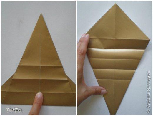Всем огромный привет! Хочу поделиться со всеми процессом изготовления вот такой закрученной ракушки в технике оригами. Свою работу я назвала мастер-классом. Конечно же, ракушку и способ складывания этой поделки придумала не я, делала по видео-уроку с сайта Планета оригами http://planetaorigami.ru/2012/07/zakruchennaya-rakovina-po-sxeme-tomoko-fuse/  А я хочу показать вам этапы своей работы с пояснениями, которые, я надеюсь, значительно облегчат труд желающим сложить такую ракушку. Сама я раз пятнадцать пересматривала видео, пока точно не посчитала необходимое количество сложений. Если модераторы не посчитают мою запись мастер-классом, то я не обижусь. Сначала советую посмотреть видео, а потом следовать моему Мк. Фотографий будет много, но не пугайтесь, на самом деле все не так сложно, вторую ракушку, которую я вам здесь представляю, я делала уже практически по памяти. Как говорится, глаза боятся, а руки делают! фото 6