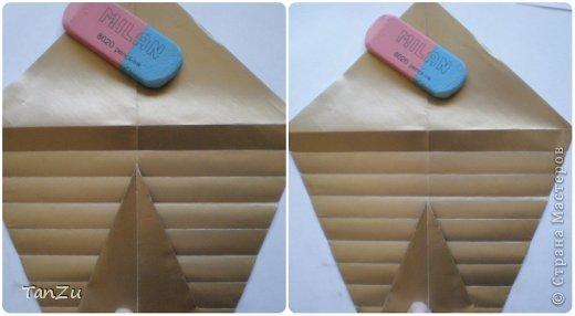 Всем огромный привет! Хочу поделиться со всеми процессом изготовления вот такой закрученной ракушки в технике оригами. Свою работу я назвала мастер-классом. Конечно же, ракушку и способ складывания этой поделки придумала не я, делала по видео-уроку с сайта Планета оригами http://planetaorigami.ru/2012/07/zakruchennaya-rakovina-po-sxeme-tomoko-fuse/  А я хочу показать вам этапы своей работы с пояснениями, которые, я надеюсь, значительно облегчат труд желающим сложить такую ракушку. Сама я раз пятнадцать пересматривала видео, пока точно не посчитала необходимое количество сложений. Если модераторы не посчитают мою запись мастер-классом, то я не обижусь. Сначала советую посмотреть видео, а потом следовать моему Мк. Фотографий будет много, но не пугайтесь, на самом деле все не так сложно, вторую ракушку, которую я вам здесь представляю, я делала уже практически по памяти. Как говорится, глаза боятся, а руки делают! фото 8