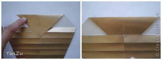 Всем огромный привет! Хочу поделиться со всеми процессом изготовления вот такой закрученной ракушки в технике оригами. Свою работу я назвала мастер-классом. Конечно же, ракушку и способ складывания этой поделки придумала не я, делала по видео-уроку с сайта Планета оригами http://planetaorigami.ru/2012/07/zakruchennaya-rakovina-po-sxeme-tomoko-fuse/  А я хочу показать вам этапы своей работы с пояснениями, которые, я надеюсь, значительно облегчат труд желающим сложить такую ракушку. Сама я раз пятнадцать пересматривала видео, пока точно не посчитала необходимое количество сложений. Если модераторы не посчитают мою запись мастер-классом, то я не обижусь. Сначала советую посмотреть видео, а потом следовать моему Мк. Фотографий будет много, но не пугайтесь, на самом деле все не так сложно, вторую ракушку, которую я вам здесь представляю, я делала уже практически по памяти. Как говорится, глаза боятся, а руки делают! фото 11