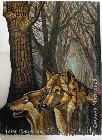 Картина панно рисунок День рождения Бумагопластика Туман в лесу Гобелен Цветной пейп-арт Салфетки фото 1