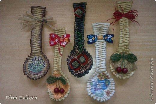 Поделка изделие Плетение Декор для кухни - плетеные ложки Бумага газетная фото 1