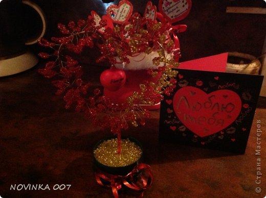 Сердце из бисера делала мужу на День Святого Валентина.
