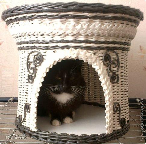 Привет всем!!! Попросила знакомая сплести домик для кошки. А так как у неё интерьер белый с черными элементами, а кошка черная с белым, домик тоже должен быть белый с черными элементами... Ну, вот, что получилось. Хозяйке домик оооочень понравился, не знаю, как понравится для жительницы этого домика... Отдельное спасибо, Ильфату!!! Без украшенй этих, домик был бы скучноватым, думаю... И так-черные трубочки из газеты, покрашены черным колером, белые трубочки из бумаги, похожую на кассовую ленту, она очень тонкая, полоски для трубочек пришлось делать широкие-10 см, когда обычно из газеты делаю 6-7 см... фото 7