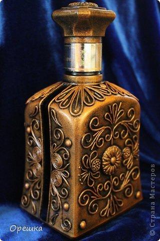 Поделка изделие Бумагопластика Пейп- арт бутылочка Салфетки фото 1