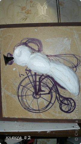 Картина панно рисунок Мастер-класс Цокотуха Бумага Клей Кожа Материал бросовый Проволока фото 2