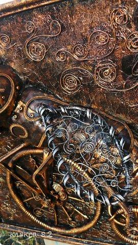 Картина панно рисунок Мастер-класс Цокотуха Бумага Клей Кожа Материал бросовый Проволока фото 15