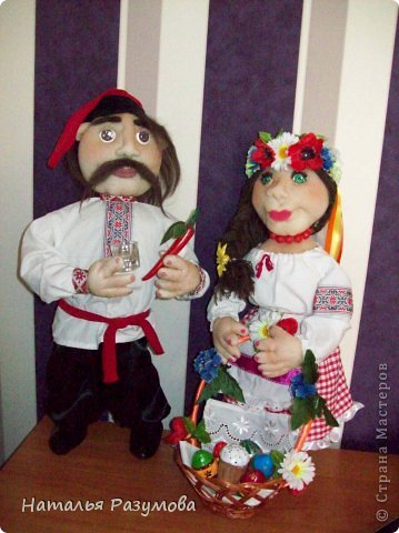 Тарас и Галочка.Мои первые каркасные куклы. фото 1