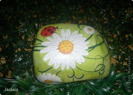 """Доброй ночи!!! С наступлением лета, многие жительницы нашей Страны показывает чудесные цветники на своих садовый участках. Увы, на моей даче, пока, я этим похвастаться не могу, а хоцца красоты!!!!! Вышла из положения таким образом: гуляя с дитями по окрестностям нашла """"клад""""-валуны и каменюшки, что могла прихватила в колясоку, что не смогла забросала травкой (а вдруг еще кому надо). Местные мужики с явным недоумением смотрели,как я бороздила поле, так как промахнулась с местом запрятывания клада, и перла валунок в машину, хотя после того,как я одна - девушка,вместе с мужской кодлой,ловила экраном уклейку и тащила ведро полное этой рыбины из низины,где у нас речка, в гору домой, они не особо удивились, что с нее возьмешь, то с рыбиной, то с камнями, то с палками))))))) Короче отсупила я от темы. Решила создать на участке хотя бы такой цветничок. Это большой валунок, взвесила его дома-6,5 кг оказался. Салфетку мне прислала из Израиля-Анечка (Marfushka), за что ей низкий поклон, уж очень она мне нравится и камень с ней мне очень нравится, хоть дома оставляй и любуйся. Покрыла 3 видами лака:акриловый паркетный,акриловый для бань и саун и автолак. фото 5"""