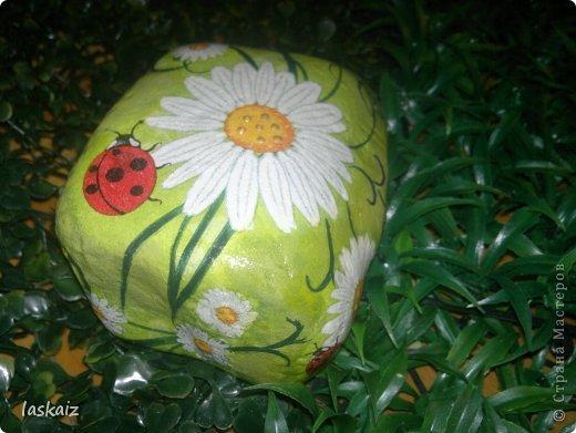 """Доброй ночи!!! С наступлением лета, многие жительницы нашей Страны показывает чудесные цветники на своих садовый участках. Увы, на моей даче, пока, я этим похвастаться не могу, а хоцца красоты!!!!! Вышла из положения таким образом: гуляя с дитями по окрестностям нашла """"клад""""-валуны и каменюшки, что могла прихватила в колясоку, что не смогла забросала травкой (а вдруг еще кому надо). Местные мужики с явным недоумением смотрели,как я бороздила поле, так как промахнулась с местом запрятывания клада, и перла валунок в машину, хотя после того,как я одна - девушка,вместе с мужской кодлой,ловила экраном уклейку и тащила ведро полное этой рыбины из низины,где у нас речка, в гору домой, они не особо удивились, что с нее возьмешь, то с рыбиной, то с камнями, то с палками))))))) Короче отсупила я от темы. Решила создать на участке хотя бы такой цветничок. Это большой валунок, взвесила его дома-6,5 кг оказался. Салфетку мне прислала из Израиля-Анечка (Marfushka), за что ей низкий поклон, уж очень она мне нравится и камень с ней мне очень нравится, хоть дома оставляй и любуйся. Покрыла 3 видами лака:акриловый паркетный,акриловый для бань и саун и автолак. фото 7"""