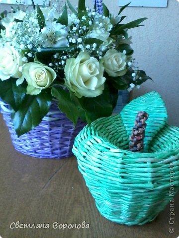 Моя первая корзинка по делу! Пригласили на свадьбу к дочери подруги. Плела от души! Не рискнула сама украшать цветами-сходила в цветочный салон. фото 5
