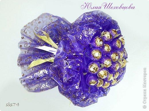 Всем доброго времени суток! сделала свой 3-й букетик  из органзы.  цвет огранзы - фиолетовый и фиолетовый с золотом. фото 2