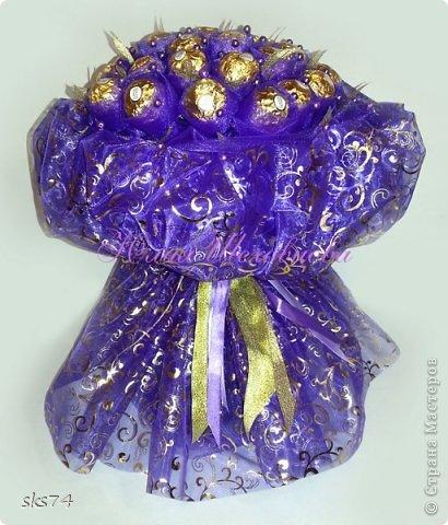 Всем доброго времени суток! сделала свой 3-й букетик  из органзы.  цвет огранзы - фиолетовый и фиолетовый с золотом. фото 3