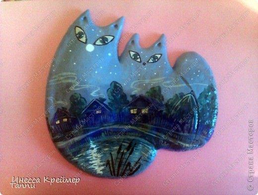 Вот такого котика слепила сестре из соленого теста - она коллекционирует котеек. домик, под звездным небом. фото 4