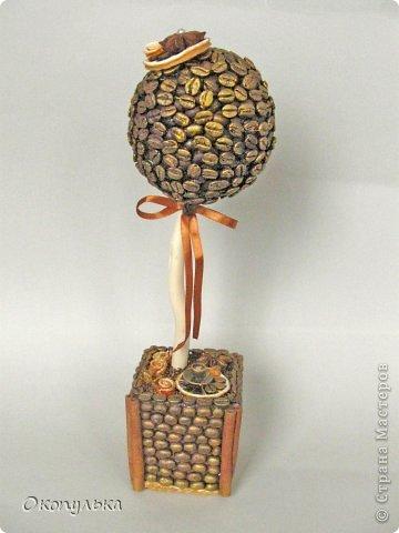 Кофейный топиарий выполнен на заказ под кухню в коричнево-оранжевых тонах фото 1