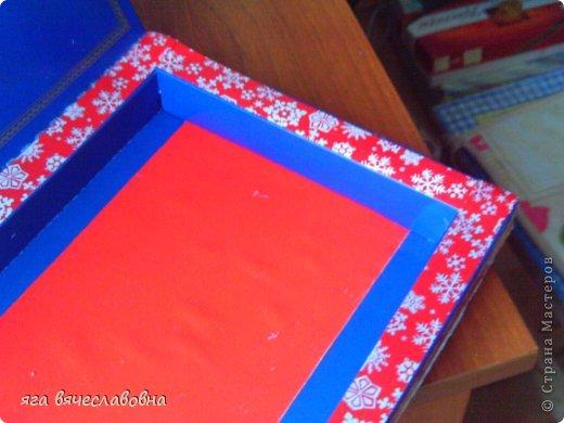 Летом хочется зимы,зимой -лета.На балконе нашла коробку из-под конфет и сделала новогоднюю коробочку для секретиков. фото 6