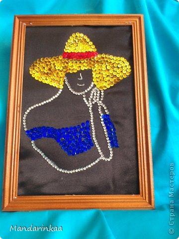 Картина панно рисунок Аппликация Блестящие девушки Бисер Клей Ткань фото 2.
