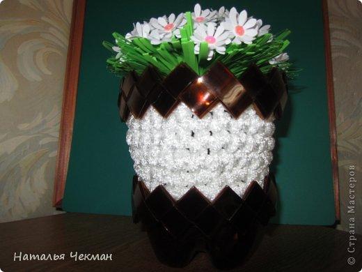 карандашницу и кашпо я сделала из бельевого шнура и пластиковой бутылки фото 2