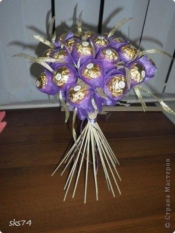 Всем доброго времени суток! сделала свой 3-й букетик  из органзы.  цвет огранзы - фиолетовый и фиолетовый с золотом. фото 4