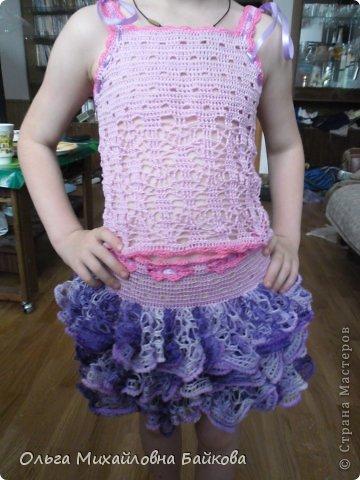 Связала для внучки костюм.Помогите со схемой для косыночки.Пожалуйста!!!! фото 10