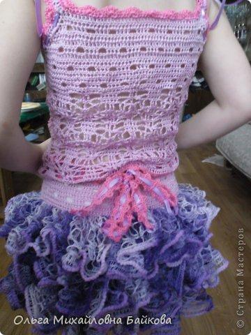 Связала для внучки костюм.Помогите со схемой для косыночки.Пожалуйста!!!! фото 11
