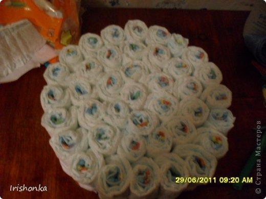 Мастер-класс День рождения Моделирование Торт из памперсов фото 8