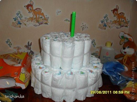 Мастер-класс День рождения Моделирование Торт из памперсов фото 10