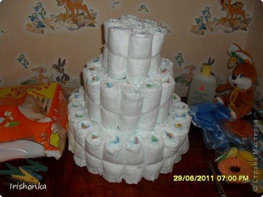 Мастер-класс День рождения Моделирование Торт из памперсов фото 11