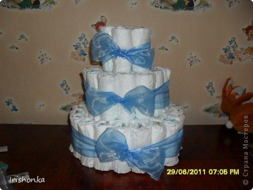 Мастер-класс День рождения Моделирование Торт из памперсов фото 12