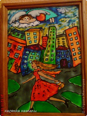 Вот такую картину я нарисовала в детскую комнату.  Пейзаж я содрала с просторов интернета. Кошечку подрисовала. И вот, что вышло. фото 4