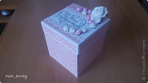 у подруги на днях была свадьба, решила в подарок сделать такую вот коробочку, правда получилась она немного скромная=) фото 1