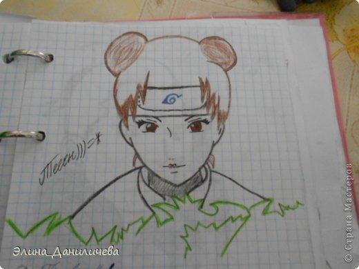 Пару дней назад наткнулась на свои тетради с рисунками... И решила ими поделиться с вами :)) Рисовать, к сожалению, я так и не научилась, но срисовываю хорошо вроде как :) Все эти рисунки - срисовки :) Я вообще любитель аниме, а раньше еще была заядлым ролевиком (ну надеюсь, все понимают, что это :))) И просто обожала рисовать персонажей, за которых я играю)  Вот одна из них - Тен-Тен (Наруто) фото 6