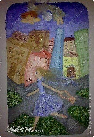 Вот такую картину я нарисовала в детскую комнату.  Пейзаж я содрала с просторов интернета. Кошечку подрисовала. И вот, что вышло. фото 5
