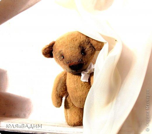 После слоников захотелось попробовать сшить и мишку. Ткань - флис, та из которой и  слоников шила. Руки, ножки на деревянных продолговатых бусинах. Глазки, носик привалены из шерсти и покрашены акриловой краской. Внутри - синтепон. Росточком он совсем малютка-16см. Это, конечно, просто мишка, а не настоящий тедди. Ведь настоящих утяжеляют опилочками, гранулятом, ножки, ручки, голова на шплинтах. И, кстати, сегодня прочитала, что у настоящих тедди не бывает хвостов. Вот!  Если кому-то интересно, здесь МК по пошиву мишки  http://www.shkola-igrushki.ru/mk-po-teddi.html фото 1