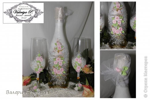 """ Время свадеб""- декор бутылки и бокалов розами. фото 2"
