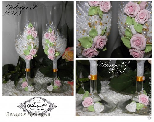 """ Время свадеб""- декор бутылки и бокалов розами. фото 3"