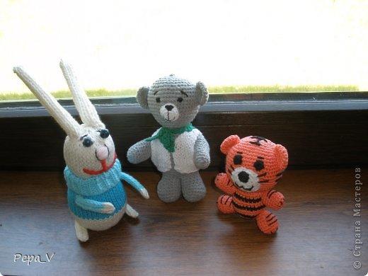 Здравствуйте дорогие друзья! В ожидании чуда, как и полагается бабушке, я  навязала пинетки, шортики, пледы, и гуляя в нете встретила замечательные зверишки. Сразу захотелось связать /точнее попробовать  - это мои первые игрушки, до сих пор не делала/Первым был заяц - связан спицами, а потом пошло - медвеженок, потом маленький тигренок и только что закончила лев! Очень приятное дело! Спасибо всем мастерам, которые поделились схемами. фото 1