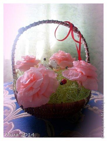 вот сделала на юбилей тете корзинку с розами))))ей очень понравилось) фото 1