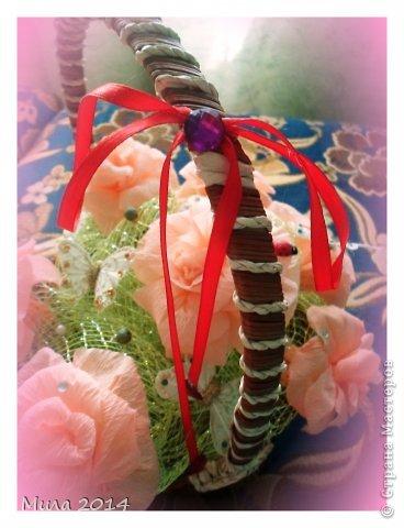 вот сделала на юбилей тете корзинку с розами))))ей очень понравилось) фото 4